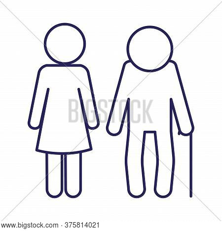 Grandfather And Daughter Avatar Line Style Icon Design, Family Relationship And Generation Theme Vec