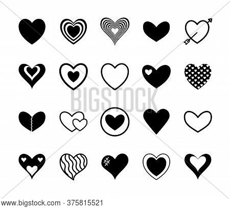 Hearts Silhouette Style Icon Set Design Of Love Passion And Romantic Theme Vector Illustration
