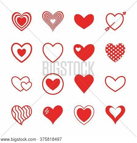 Hearts Flat Style Icon Set Design Of Love Passion And Romantic Theme Vector Illustration
