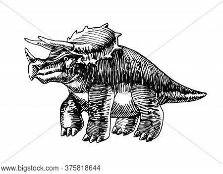 Prehistoric Reptile Of The Jurassic Period, Herbivorous Dinosaur Triceratops With Horns, Vector Illu