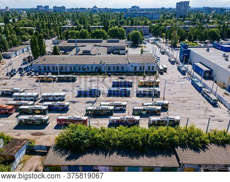 Trolleybuses In The Parking Lot At Depot, Aerial View