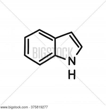 Indole Chemical Formula Doodle Icon, Vector Line Illustration
