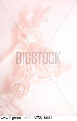 Pink Rose Buds On A Wall With Venetian Stucco. Delicate Background For A Wedding Card, Invitation, B