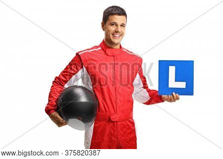 Racer holding a helmet and a learner plate isolated on white background