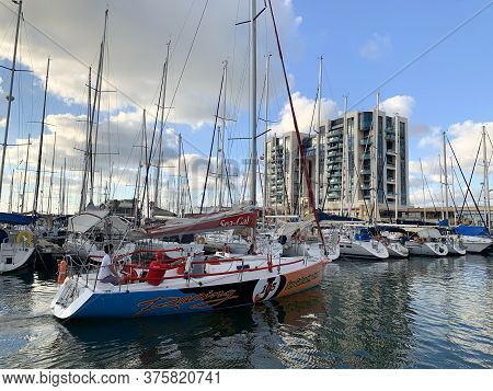 Herzlia, Israel - June 24, 2020: The Yacht Enters The Parking Lot In The Marina
