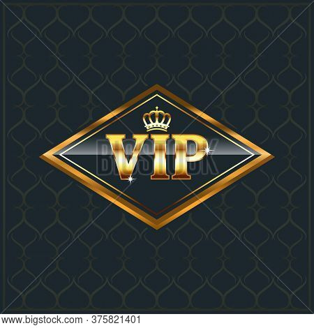 Vector Illustration Vip Club Label On Navy Blue Background With Crown In Modern Speech Bubble,vip Lo
