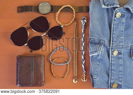 Top View Of Men Accessories. Hipster Or Modern Man Concept. Accessories For Going For A Walk. Male F