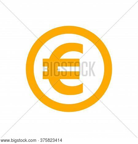 Euro Currency Coin Orange For Icon Isolated On White, Euro Money For Symbol