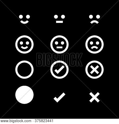 White Icon Emotions Face, Emotional Symbol And Approval Check Sign Button, White Emotions Faces Chec