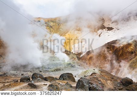 Volcanic Landscape, Crater Of Active Volcano: Hot Spring, Fumarole, Lava Field, Gas-steam Activity.