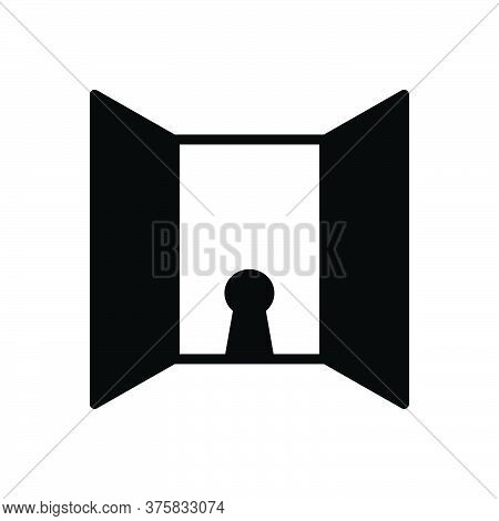 Black Solid Icon For Openness Door Entrance Frankness Forthrightness Keyhole Doorknob Door-handle