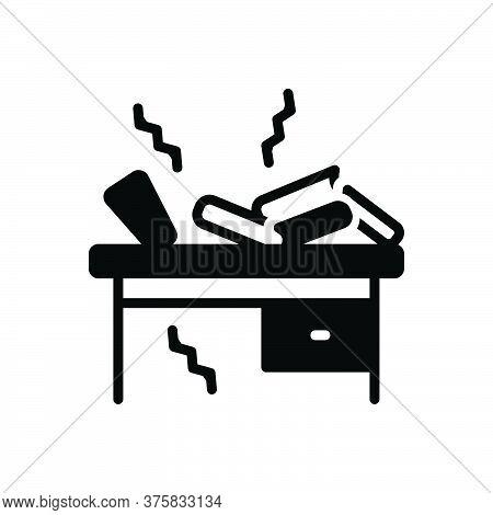 Black Solid Icon For Oscillate Shudder Vibrancy Shaking Dangle Book-self Book Desk Break