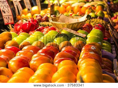 Close Up Of At Row Of Fruits And Vegies At A Farmers Market