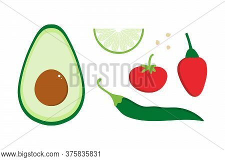 Set, Collection Of Colorful Cartoon Style Vegetables For Mexican Guacamole. Avocado, Chili Pepper, T