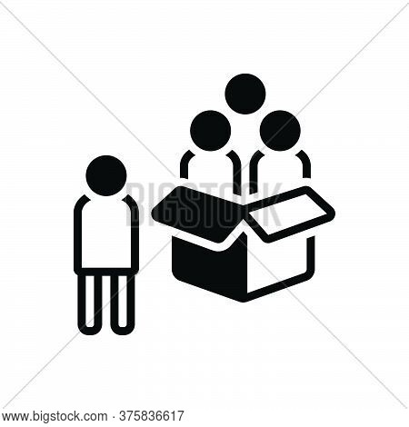 Black Solid Icon For Outsider Stranger Unknown Unenlightened Unfamiliar Box People