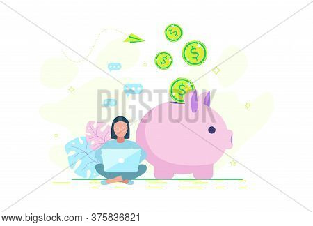 A Woman Is Saving Money In A Piggy Bank. Money Savings Concept. Girl Programmer Saves Money.