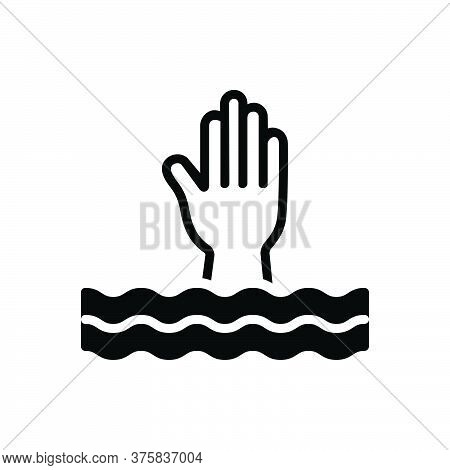 Black Solid Icon For Overwhelm Swamp Submerge Engulf Bury Deluge Flood Inundate Help
