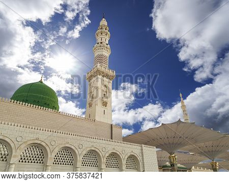 Medina, Saudi Arabia - July 07, 2020: View Of Cloudy Blue Sky At Nabawi Mosque Or Prophet Mosque In