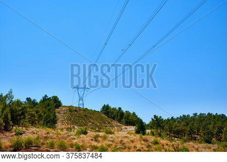 Power Line Pylon With High Voltage Wires