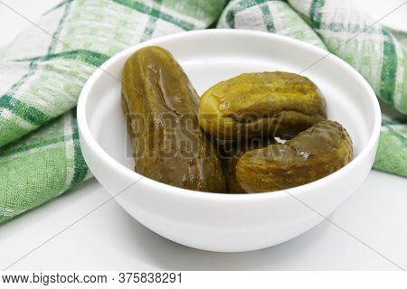Marinated Pickled Cucumbers In Bowl. Ingredients For Cooking Pickled Cucumbers