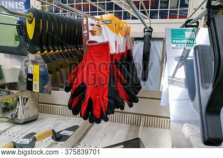 Moscow, Russia - August 17, 2019: Different Construction Tools Close-up On The Rack In A Building Ma