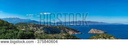 Panoramic Bird Eye View Of Aegean Sea In Crete Island, Greece. Hd Panorama Blue Sky And Cretan Sea.
