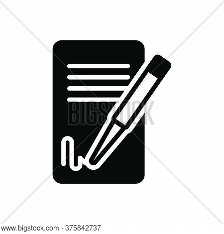 Black Solid Icon For Signing-contact Signature Agreement Feedback Registration Legalization Document