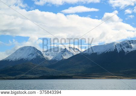 Fantastic View Of Snow Covered Mountains Along The Beagle Channel, Ushuaia, Tierra Del Fuego, Patago