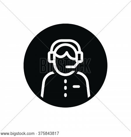 Black Solid Icon For Customer-service Headset Call-center Helpline Operator Consultant Telemarketing