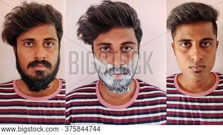 Young Indian Asian Guy With Beard In 1st Pic, With Shaving Cream Applied In 2nd Pic And Without A Be