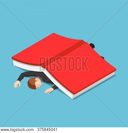 Flat 3d Isometric Businessman Under The Big Book. Education And Information Overload Concept.