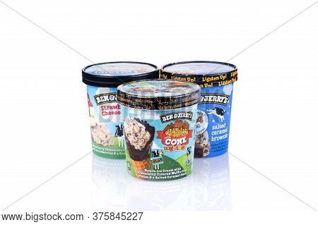 Rotterdam, The Netherlands - July 2020: Different Flavors Of Delicious Ben & Jerry's Ice Cream Isola