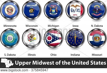 Flags Of Upper Midwest Region In The United States. Vector Image