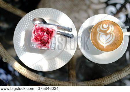 Hot Cappuccino Mocha Latte Coffee & Strawberry Cream Cheesecake In Plastic Cup.