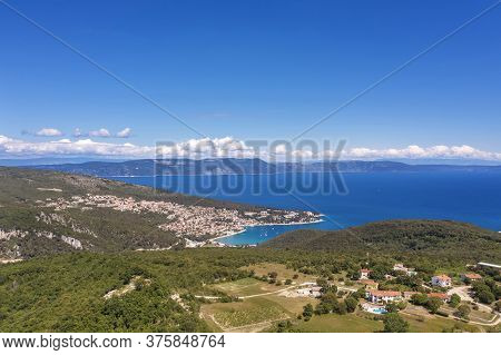 An Aerial View City Of  Rabac, In Background Island Cres, Istria, Croatia