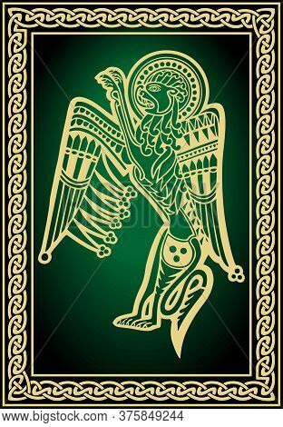 Celtic Zoological National Drawing. Winged Lion With Ornament. Mystical Creature Of Celtic Ethnic Gr