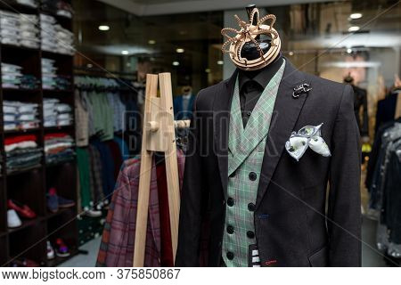 Mannequin Wearing At Elegant Stylush Expensive Suit Or Jaket Standing At The Male Clothing Store. Pr