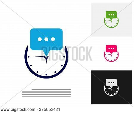 Consult Clock Logo Design Concept Vector. Consult Time Management Logo Template. Concept Icon Isolat