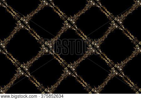 Raster Golden Pattern On Brown And Black Colors. Golden Snowflake Simple Seamless Pattern. Symbol Of