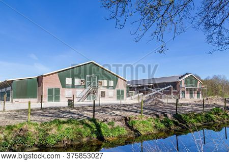 Large Chicken Farm With Indoor Facilites For Poulry Breeding And Egg Production In The Netherlands