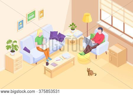 Couple Working Online Home, Freelancer Man And Woman With Computer Laptops, Isometric 3d Illustratio