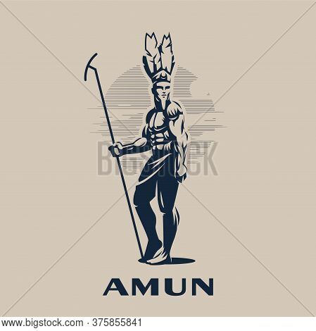 Egyptian God Amon. Egyptian Man In A Feather Headdress And With A Staff In His Hand. Vector Illustra