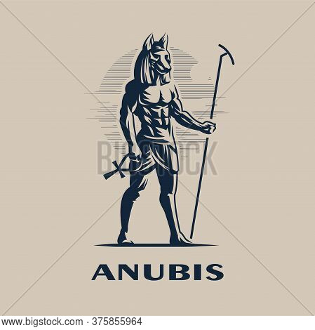 Egyptian God Anubis. A Man With The Head Of A Wolf Or Dog In A Traditional Egyptian Headdress And Wi