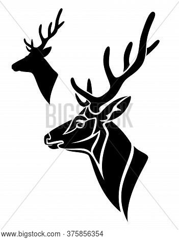 Antler Deer Profile Head - Side View Black And White Vector Portrait Of Buck With Large Horns
