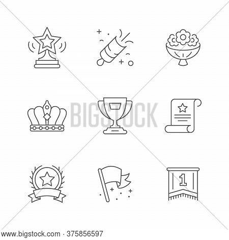 Set Line Icons Of Award Isolated On White. Statuette, Firework, Flower Bouquet, Crown, Winner Cup, F