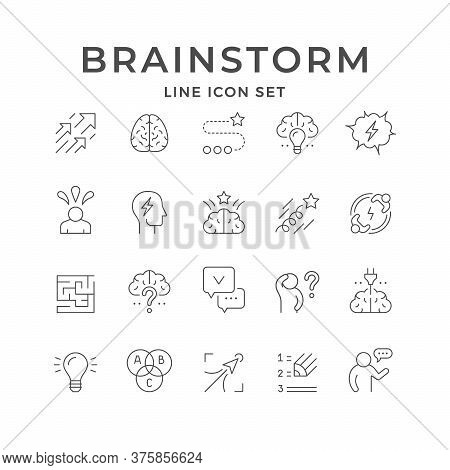 Set Line Icons Of Brainstorming Isolated On White. Brain, Maze Or Labyrinth, Creative Idea, Thinking