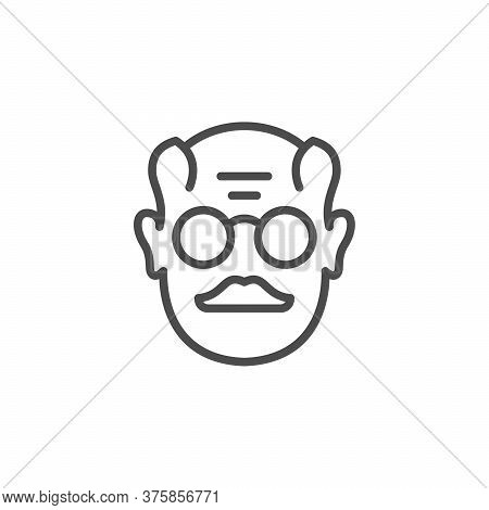 Old Man Line Outline Icon Isolated On White. Grandfather Face. Pensioner, Elderly Human Avatar. Vect