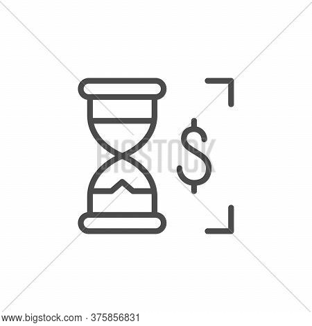 Payout Time Line Outline Icon Isolated On White. Sandglass And Dollar Sign. Earnings, Deposit, Profi