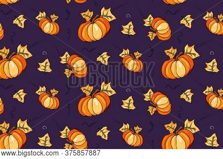 Autumn Season Vector Seamless Pattern With Hand Drawn Pumpkin In Cartoon Style. Hand Drawn Repeated