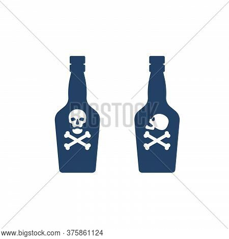 Bottle Poison Alcohol Skull In Profile And Full Face For Concept Design. Dangerous Container. Potion